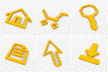 Fotobehang Pixel Set of 6 orange icons in grid. 3D rendered.