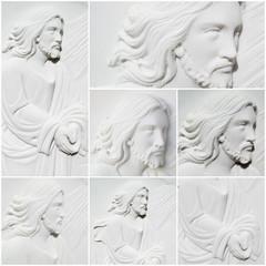 collage volto di gesù cristo