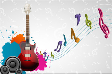 Wall Mural - guitar on musical background