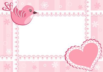 Baby photo frame with bird.