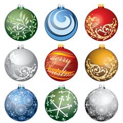 nine christmas balls