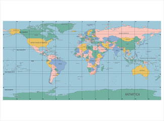 Keuken foto achterwand Wereldkaart Detailed World Map with Names of Countries, vector isolated by g