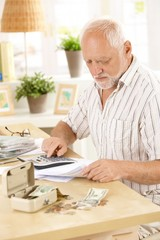 Active pensioner doing financial work at home