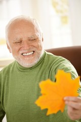 Smiling old man looking at yellow leaf