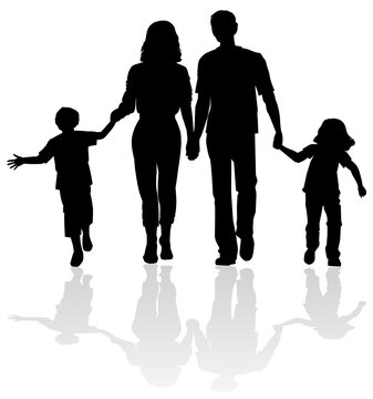Family silhouette - Vector