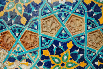 Fragment of tiled wall with Arabic mosaic from Tbilisi, Georgia