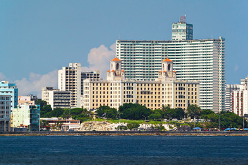 Detail from the skyline of Havana, Cuba with the Hotel Nacional