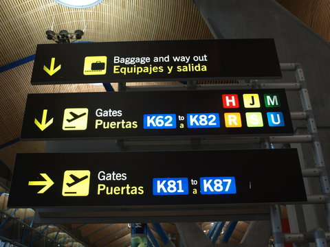 sign at the airport in madrid