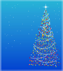 Abstract  christmas colorful stars tree on blue background -2
