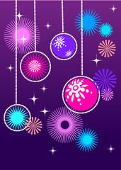 purple card with christmas balls, vector illustration