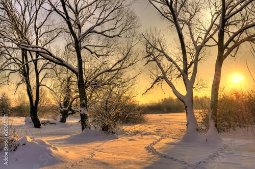 заход солнца зимой бесплатно