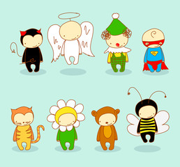Cute kids in different costumes