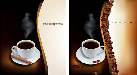 Two design coffee backgrounds. Vector.