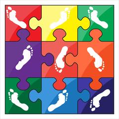 footprint color vector puzzle