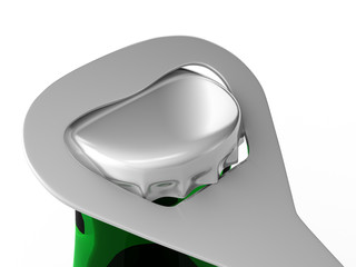 A render of a closeup of a bottle opener opening a green bottle