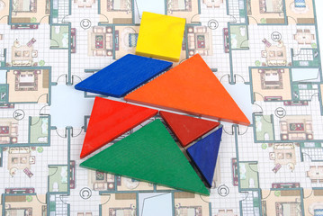 tangram with blueprint