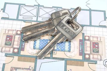 keys on house blueprint