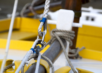 splices on the prow of a sailboat - close view, shackle and rope
