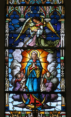 Spoed Foto op Canvas Stained Assumption of the Virgin Mary