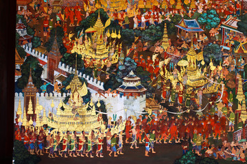 Beautiful Scene Painted in Temple at Grand Palace,Thailand