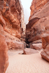 Eroded cliff of Khazali canyon in Wadi Rum
