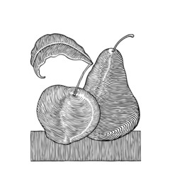 apple and pear woodcut