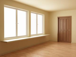 Empty room, with wooden door and floor, 3d illustration