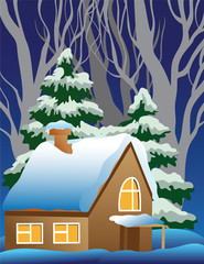 Vector illustration of a snow-covered village.