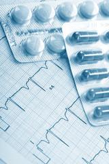 pills on the cardiogram