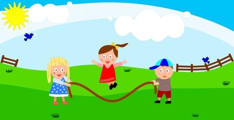 Kinder beim Seilspringen