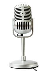 plastic studio microphone metallic color on pedestal