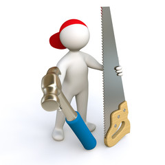 3D Man carpenter