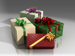 Presents in colorful wrapping paper and bows