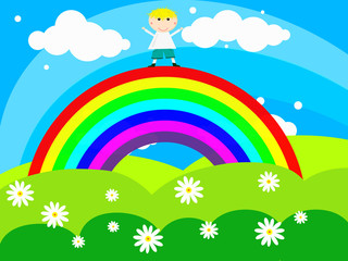 Acrylic Prints Rainbow Cheerful boy stands on a rainbow