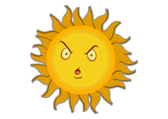 Angry Sun Cartoon Character Illustration in Vector