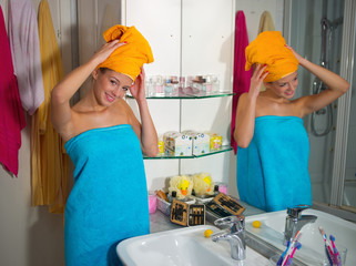 woman in her bathroom