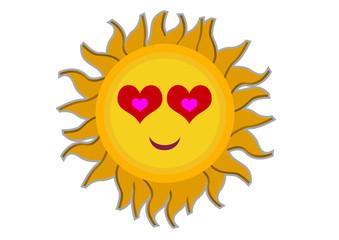 Loving Sun Cartoon Character Illustration in Vector