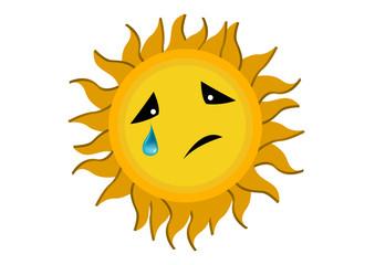 Crying Sun Cartoon Character Illustration in Vector