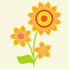 vector illustration with orange flowers