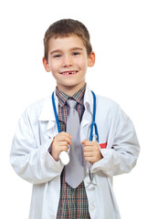Laughing future doctor with stethoscope