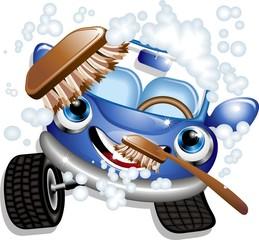 Auto Lavaggio Cartoon-Car Wash-Vector