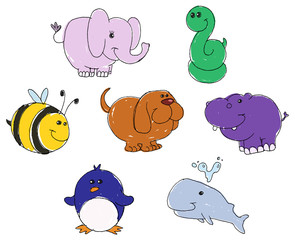 Animal doodles vector hand-drawn