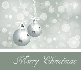 Christmas Background in Soft  Colors, two bulbs