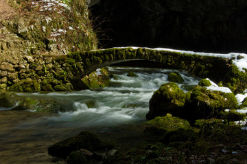 stone made footbridge, rakov skocjan forest