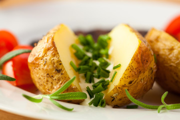 Baked potatoes with yogurt and chive