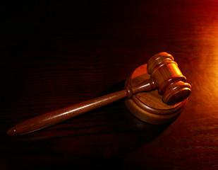 court gavel on a wooden desk