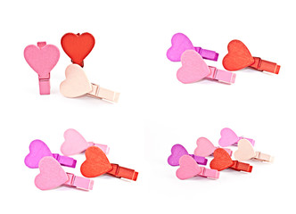 Colorful wooden pegs with a heart.