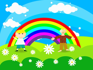 Foto op Textielframe Regenboog Cheerful boy stands on a rainbow