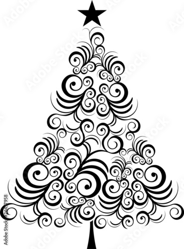 Quot Christmas Tree Black Outline Quot Stock Image And Royalty