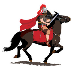 Fotobehang Ridders Roman soldier on horseback charges with sword drawn.